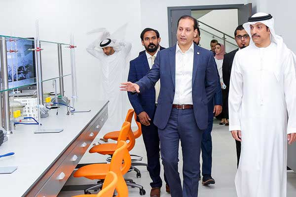 His Excellency Sheikh Mohamed bin Abdullah Al Nuaimi tours CUCA's new state-of-the-art Health Sciences labs.